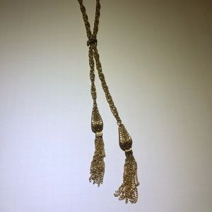 Vintage gold chain tassel necklace